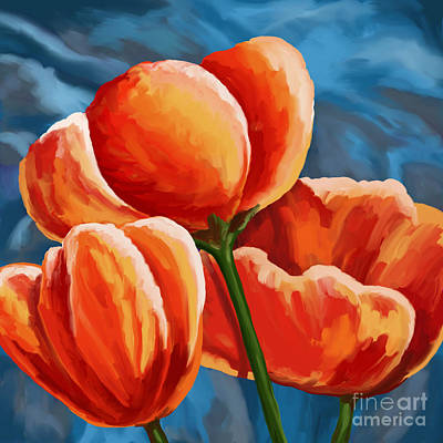 Painting - Red Tulips On Blue by Tim Gilliland