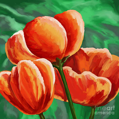 Painting - Red Tulips On Green by Tim Gilliland