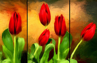 Flower Blooms Digital Art - Red Tulips Triptych by Lourry Legarde