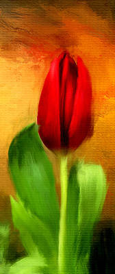Red Tulips Triptych Section 1 Print by Lourry Legarde