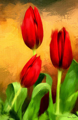 Red Tulips Triptych Section 2 Print by Lourry Legarde