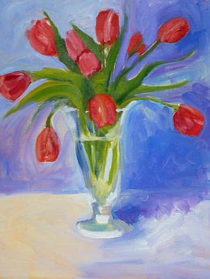 Red Tulips Art Print by Valerie Lynch
