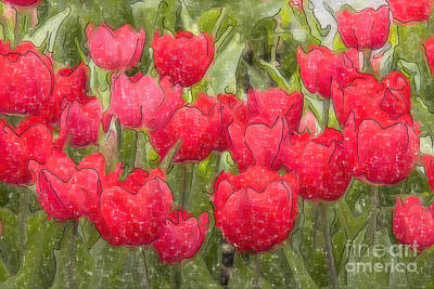Digital Art - Red Tulips Watercolor by Jill Lang