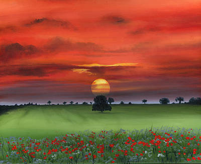 Red Tuscan Sunrise With Poppy Field Art Print by Cecilia Brendel