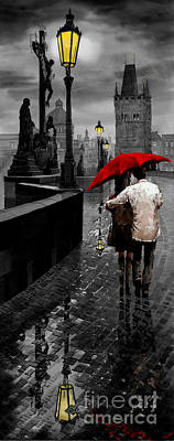 Mixed Media Mixed Media - Red Umbrella 2 by Yuriy Shevchuk