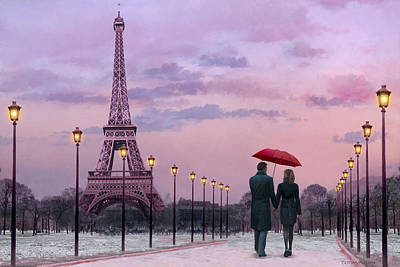 Paris Painting - Red Umbrella by Chris Consani