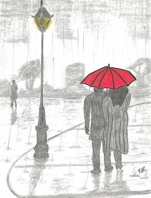 Rain Drawing - Red Umbrella In The Rain by Ray Ratzlaff