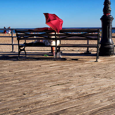 Photograph - Red Umbrella On The Boardwalk by Cornelis Verwaal