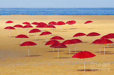 Blue Ocean Photograph - Red Umbrellas by Carlos Caetano