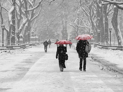 Photograph - Red Umbrellas In The Snow by Cornelis Verwaal