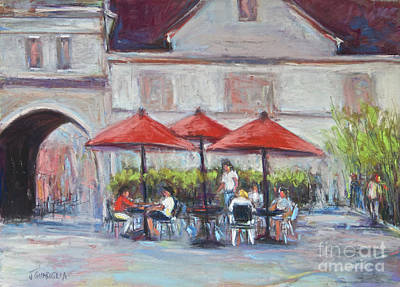 Pastel - Red Umbrellas by Joyce A Guariglia
