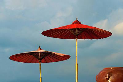 Red Umbrellas On Inle Lake, Shan State Art Print by Keren Su