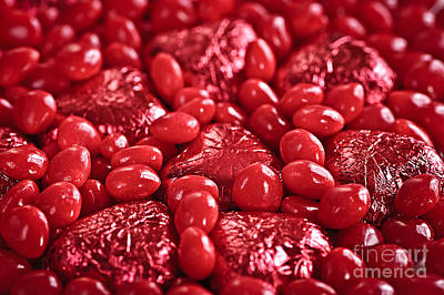 Valentine Photograph - Red Valentine Candy Hearts by Elena Elisseeva