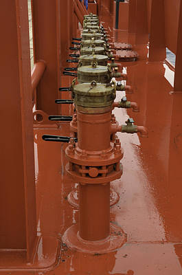 Photograph - Red Valves On A Ship by Bradford Martin