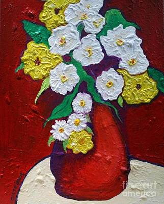Red Vas With Yellow And White Flowers Art Print by Alison Caltrider