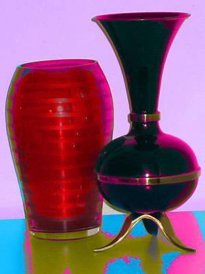 Digital Art - Red Vase And Black Vase by Good Taste Art