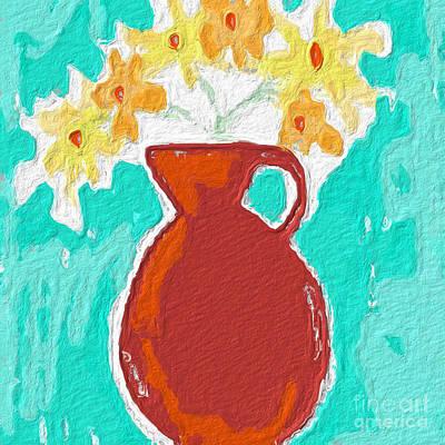 Abstract Flowers Paintings - Red Vase Of Flowers by Linda Woods