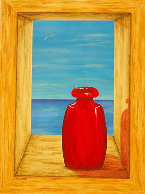 Pacific Ocean Mixed Media - Red Vase by Pamela Allegretto