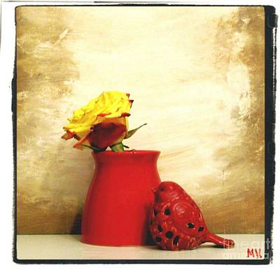 Brown Tones Photograph - Red Vase Red Bird And Red Yellow Rose by Marsha Heiken