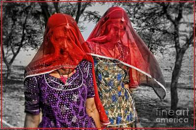 Red Veils In Rajasthan Art Print by Henry Kowalski