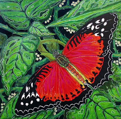 Art Print featuring the painting Red Butterfly by Debbie Chamberlin
