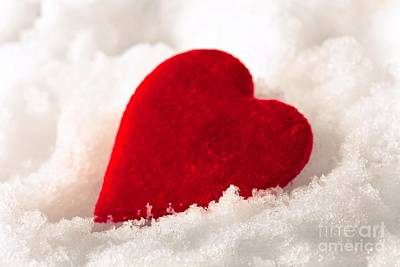 Photograph - Red Velvet Heart On Snow For Valentine Day by Sviatlana Kandybovich