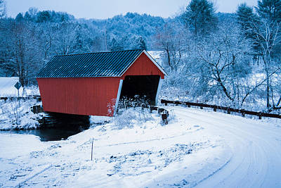 Photograph - Red Vermont Covered Bridge by Jeff Folger
