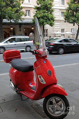 Red Vespa Print by Inge Johnsson