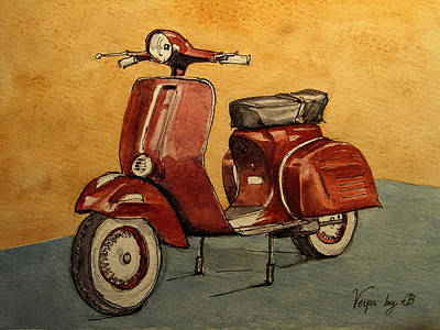 Motorcycle Wall Art - Painting - Red Vespa by Juan  Bosco
