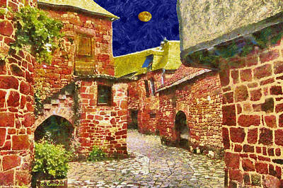 Moon Painting - Red Village by George Rossidis