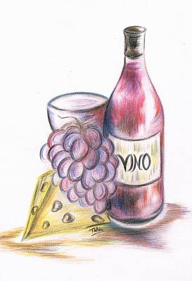 Vino Mixed Media - Red Vino Taken With Cheddar Cheese by Teresa White