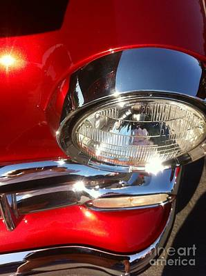 Photograph - Red Vintage Car Headlight by Susan Garren