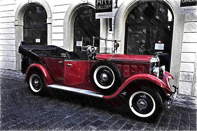 Photograph - Red Vintage Car In Old Prague by Jenny Rainbow