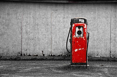 Red Vintage Gasoline Pump Art Print by Randall Nyhof