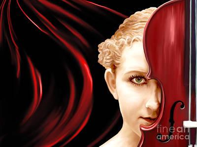 Girl Painting - Red Violin by Kathryn L Novak