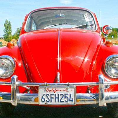 Classic Photograph - Red Vw by Georgia Fowler