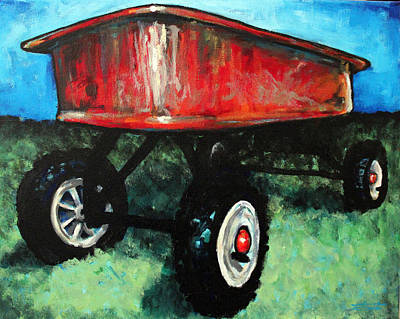Painting - Red Wagon by Arleana Holtzmann