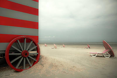 Parasol Photograph - Red Wagon by Gilbert Claes