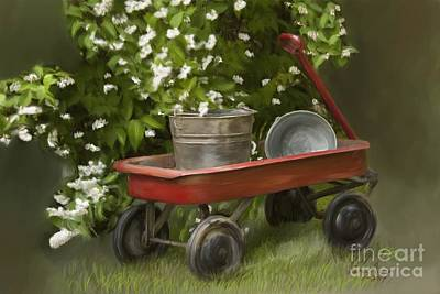 Digital Art - Red Wagon by Lena Auxier