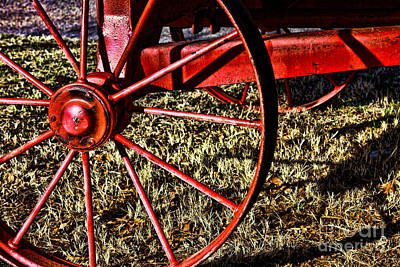 Photograph - Red Wagon Wheel by Lawrence Burry