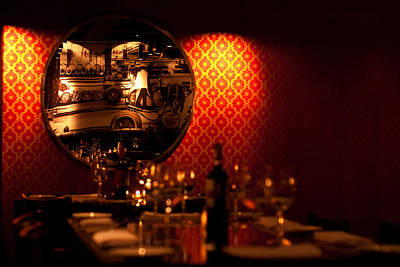 Table Wine Photograph - Red Wall And Dinner Table by Jess Kraft