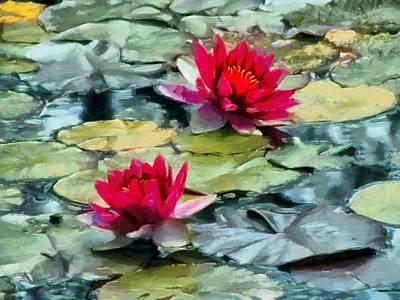 Red Leaf Digital Art - Red Water Lilies by Bernie  Lee