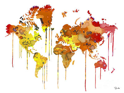 World Map Painting - Red Watercolor Map by Luke and Slavi