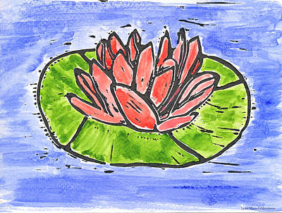 Printmaking Mixed Media - Red Waterlily by Lynn-Marie Gildersleeve