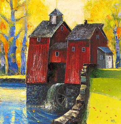 Red Watermill Art Print
