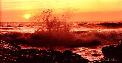 Rocky Coast Digital Art - Red Waves by Barbara Snyder