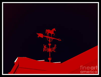 Red Weather Vane With Snow On The Roof . Border Art Print by Renee Trenholm