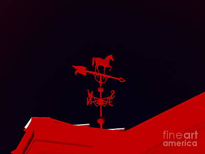 Weathervane Digital Art - Red Weather Vane With Snow On The Roof by Renee Trenholm