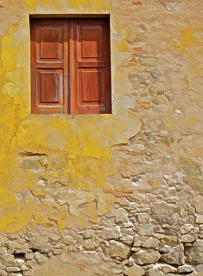 Photograph - Red Weathered Wood Window Of The Medieval Village Of Obidos by David Letts