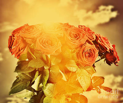 Red Wet Roses Flowers Bouquet On Sky Background Art Print